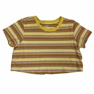 Urban Outfitters Stripped Cotton Crop Tee